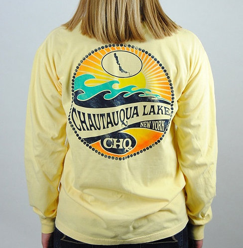 Chautauqua Lake Long Sleeve T-Shirt: Mojave Wave in Butter