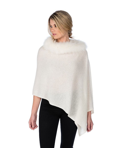 Cashmere Poncho with Trim in Snow