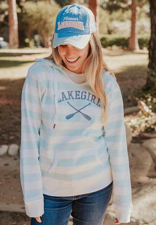 Lakegirl Striped Hoodie in Surf/Periwinkle