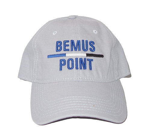 Bemus Point Baseball Hat with Tricolor Stripe in Gray
