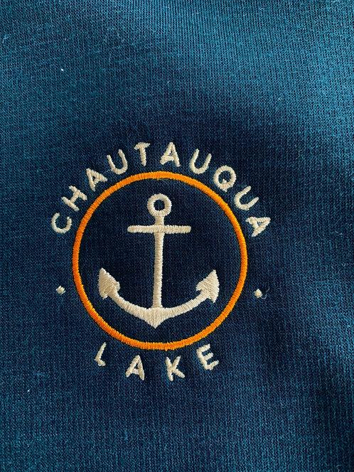 Chautauqua Lake Fleece Lined Funnel Neck Sweatshirt in Deep Blue Abyss