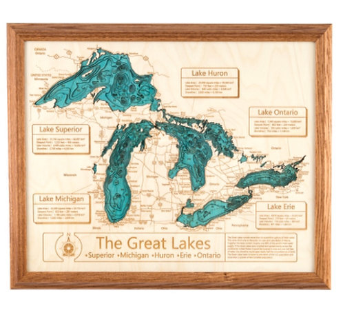 "24 x 30"" Laser Cut Map - Great Lakes (With Chautauqua) in Oak Frame"