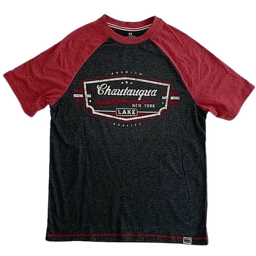 Chautauqua Lake Short Sleeve T-Shirt: Vintage Logo in Red/Granite