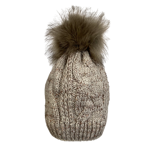 Cable Knit Beanie with Sequins in Abalone