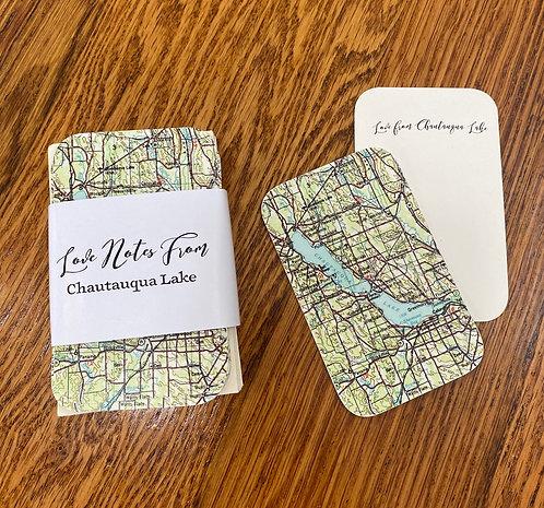 Chautauqua Lake Map - Mini Love Note Cards