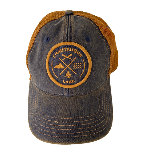 Chautauqua Lake Baseball Hat - Circular Patch with Outdoor Icons in Denim/Copper