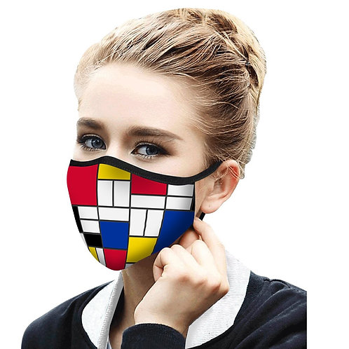 Face Mask by Rain Capers - Mondrian Composition