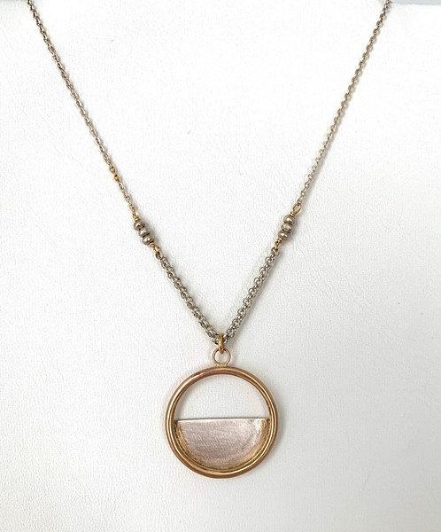 Layered Circle and Half Moon Necklace