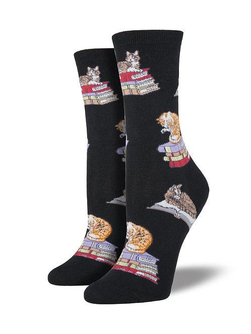 Womens Socks - Cats on Books