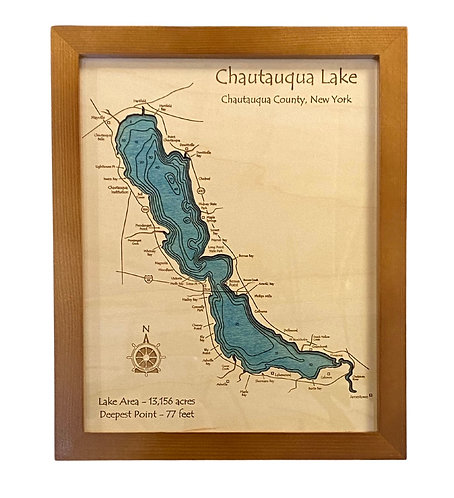 "8"" x 10"" Laser Cut Map - Chautauqua Lake"