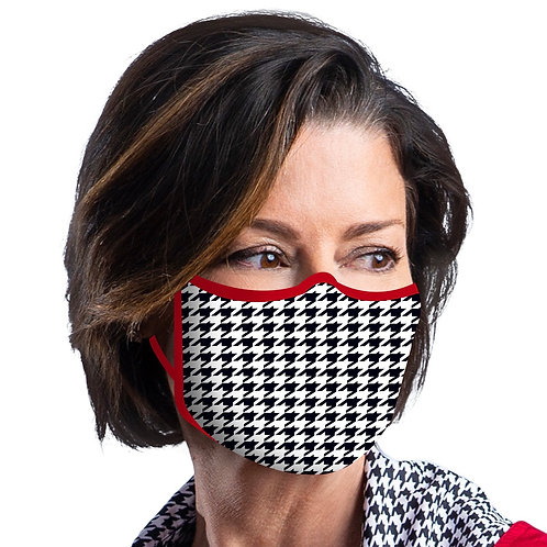 Face Mask by Rain Capers - Black and White Houndstooth