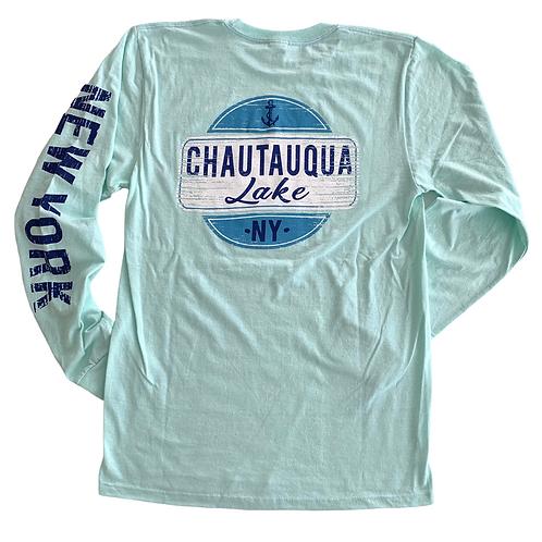 Chautauqua Lake Long Sleeve T-Shirt: Vintage Sign