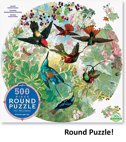 500 Piece Round Puzzle - Hummingbirds