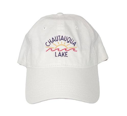 Chautauqua Lake Baseball Hat - Colorful Sun and Wave Logo in White