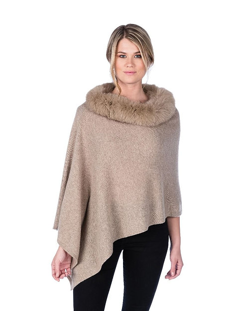 Cashmere Poncho with Trim in Natural