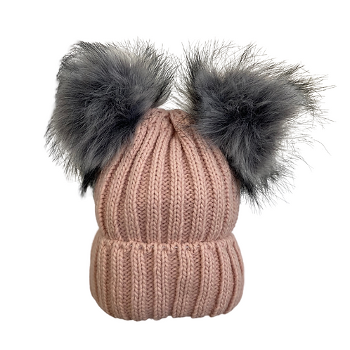 Chunky Knit Double Pom Beanie in Pink/Gray