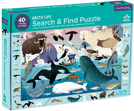 64 Piece Puzzle - Search and Find Arctic Life