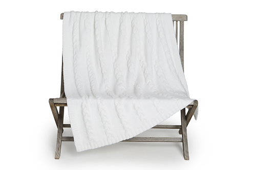 Barefoot Dreams Heathered Cable Blanket in Pearl