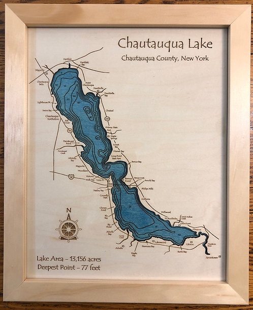 "8"" x 10"" Laser Cut Map - Chautauqua Lake"