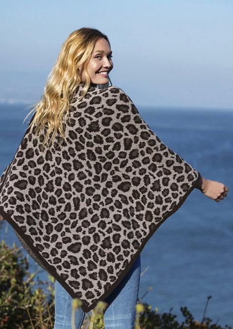 Barefoot Dreams Cozychic Leopard Poncho in Cocoa