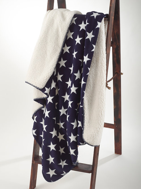Sherpa and Fleece Throw Blanket - Navy with Stars