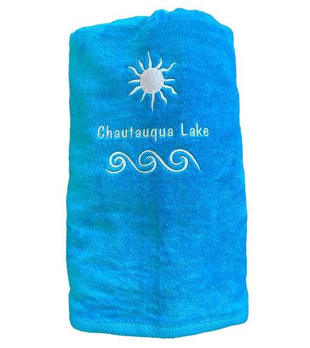 Chautauqua Lake Beach Towel in Turquoise