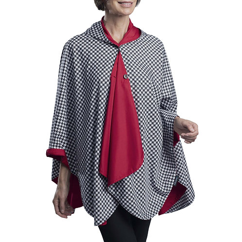 Rain Caper - Red, Black and White Houndstooth