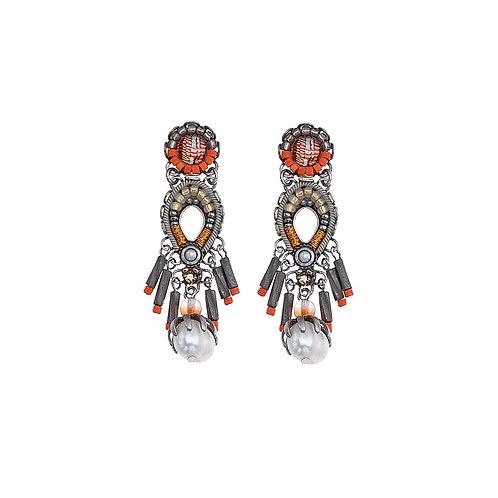 Fabric and Crystal Earrings - Caribbean Island