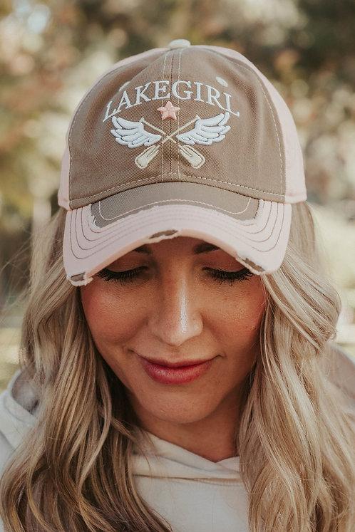 Lakegirl Distressed Mesh-Back Hat in Mocha