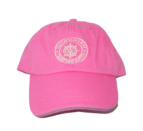 Chautauqua Lake Baseball Hat - I'm the Captain's Wife, I Make Ship Happen Pink
