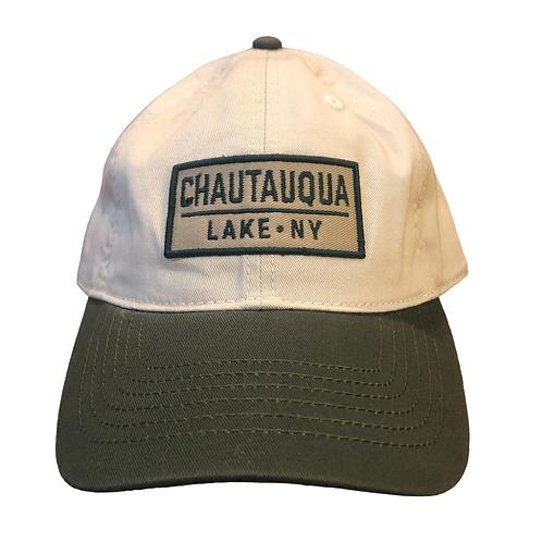 Chautauqua Lake Baseball Hat in Two-Tone Sand and Army Green