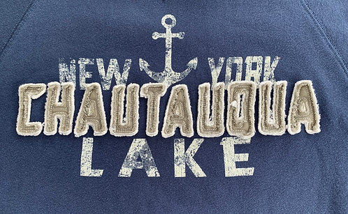 Chautauqua Lake Hoodie with Raised Logo in Steel Blue
