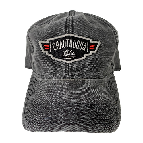 Chautauqua Lake Baseball Hat - Vintage Inspired Wing Logo in Distressed Black