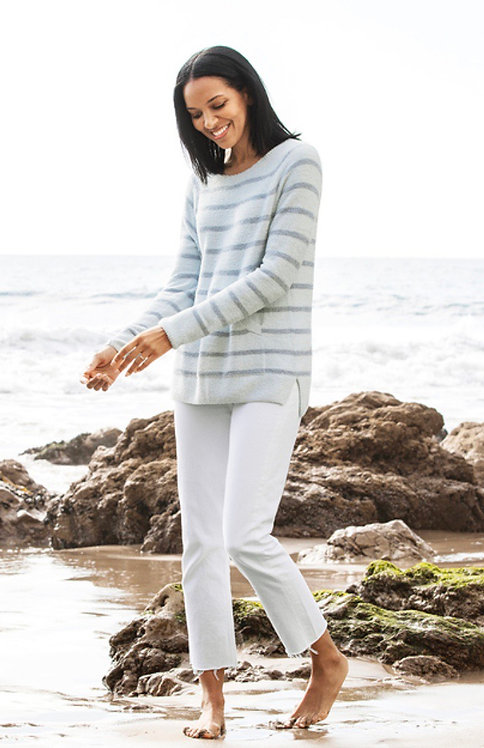 Barefoot Dreams Striped Raglan Pullover in Blue