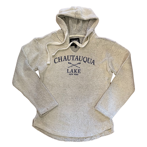 Chautauqua Lake V-Neck Terrycloth Hoodie in Natural