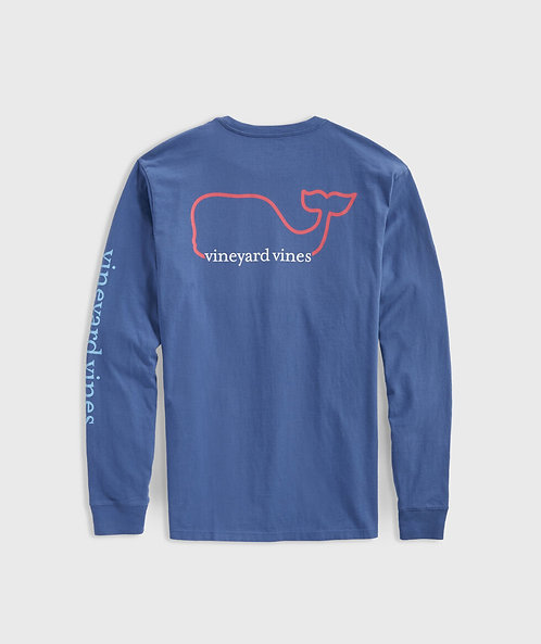 Vineyard Vines - M's Tri-Color Long Sleeve Tee with Whale in Moonshine