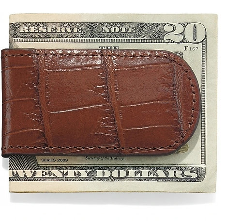 Brighton Croco Money Clip in Brown