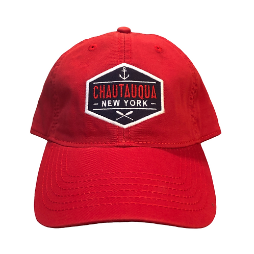 Chautauqua Lake Baseball Hat with Patch of Anchor and Oars in Red