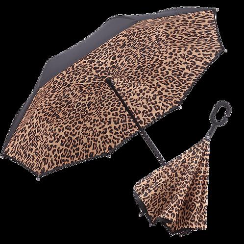Inverted Umbrella by Rain Capers - Leopard Print