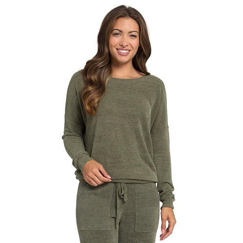 Barefoot Dreams Slouchy Pullover in Olive