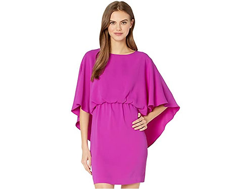 Trina Turk Tamiko Cape Dress in Fuchsia