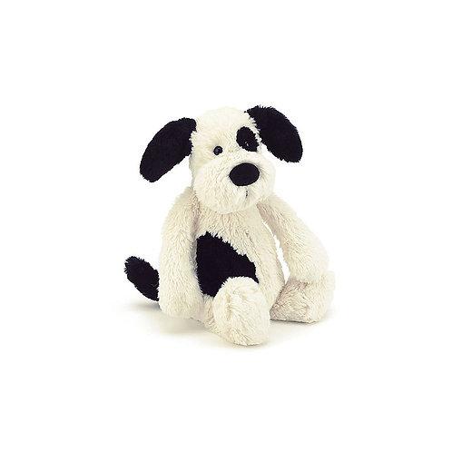 "Jellycat Bashful Black and Cream Puppy Mini - 7"""