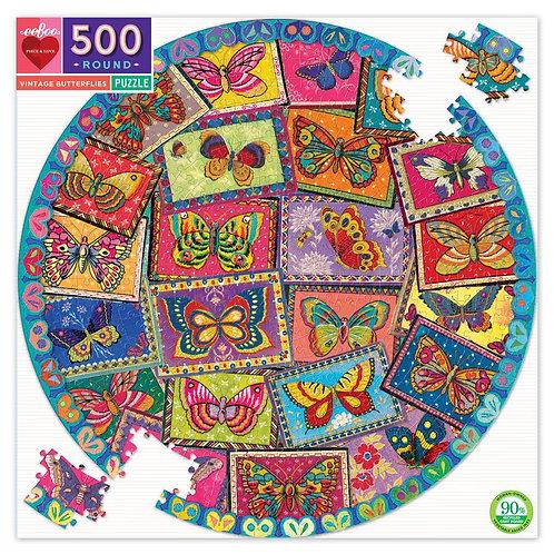 500 Piece Round Puzzle - Vintage Butterflies