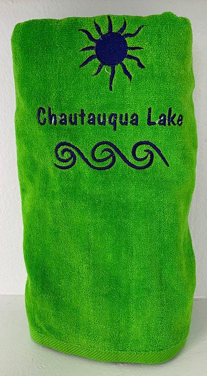 Chautauqua Lake Beach Towel in Parrot Green
