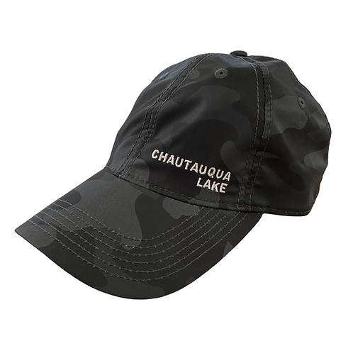 Chautauqua Lake Baseball Hat - Cool Fit with Side Logo in Gray Camo