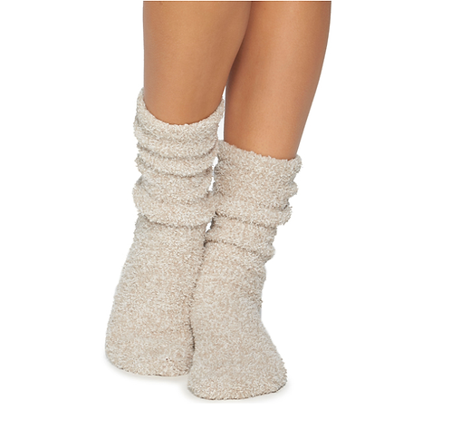 Barefoot Dreams Socks in Oyster/White
