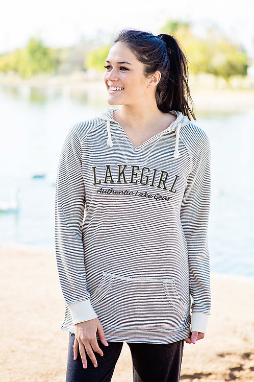 Lakegirl Stripe Weekender Hoodie in Grey