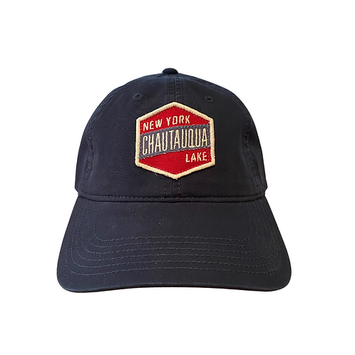 Chautauqua Lake Baseball Hat with Red Patch in Navy