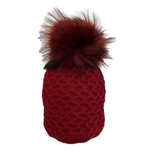 Honeycomb Knit Beanie in Bordeaux