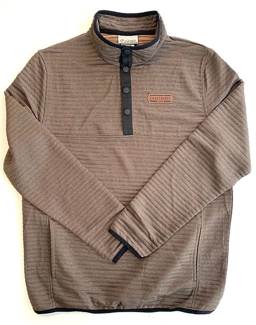 Chautauqua Lake Ribbed 1/4 Snap with Patch in Fossil Brown